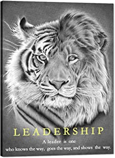 """Inspirational Entrepreneur Quotes with Words Wall Art Black and White Lion and Tiger Motivational Painting Prints on Canvas Modern Inspiring Poster Print Artwork Home Office Decor Framed (30""""Wx40""""H)"""