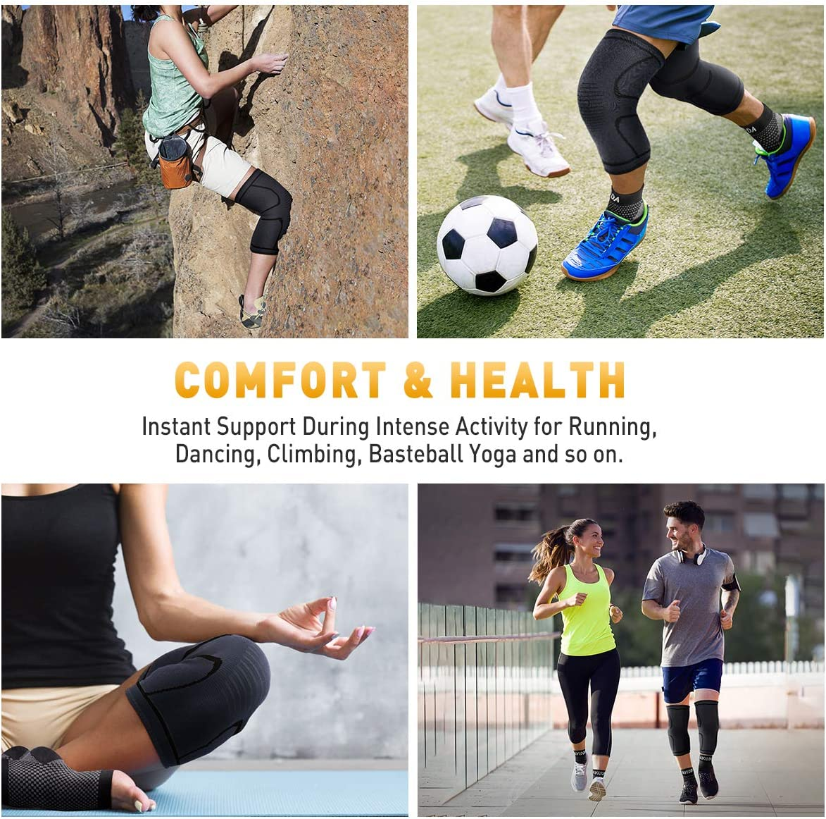Running Injury Recovery Football Gold S Copper Compression Knee Sleeve for Joint Pain Relief Squats Arthritis AVIDDA Knee Brace Support Pair for Men Women Meniscus Tear Weight Lifting