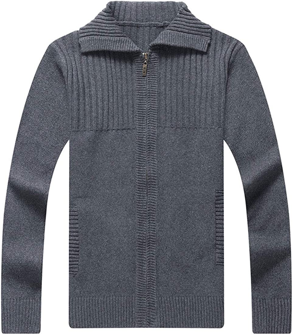 ebossy Men's Casual Full Zip Rib Knitted Solid Sweater Cardigan with Pocket