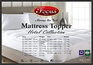 Mattress Topper 180x200 + 10cm - 100% Cotton, Overfilled Thick Pillow Soft Fluffy and Warm Hotel Quality