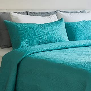 Mezzati Bedspread Coverlet Set Blue-Ocean Teal – Prestige Collection - Comforter Bedding Cover – Brushed Microfiber Bedding 3-Piece Quilt Set (Queen/Full, Blue Ocean Teal)