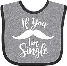 Inktastic If You Mustache I'm Single Valentine's Day Baby Bib Heather and Black
