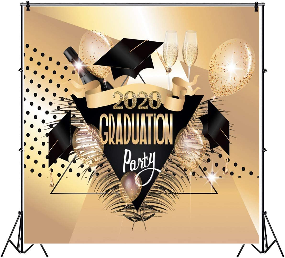 8x6FT Class of 2020 Backdrop Faling Bachelor Cap Golden Ballons Champagne Glass Feather Photography Background Class Graduation Prom Party Banner Vinyl Photo Studio Props