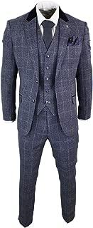 Cavani Mens Blue Navy 3 Piece Tweed Suit Herringbone Vintage Peaky Blinders 1920's Retro Blue