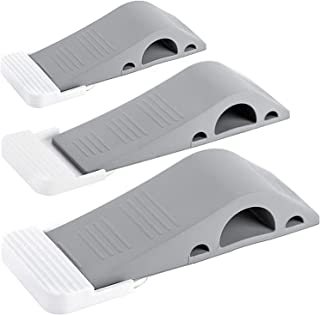 Best Wundermax Door Stopper Rubber Door Stop Wedge Security Door Stops With Door Holder Rubber Door Stoppers Works On All Floor Types and Carpet Heavy Duty Door Jam (3 Pack Gray) Reviews