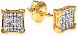 0.05 Carat (ctw) 18K Yellow Gold Plated Sterling Silver Round Diamond Mens Stud Earrings 1/10 CT