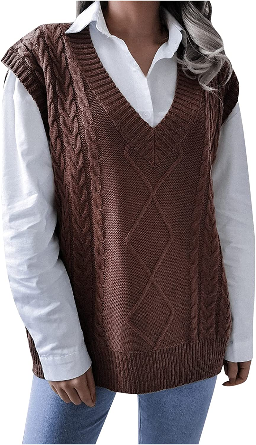 Women's Fashion Solid Cool School-Style Loose Super Soft Comfy Knitted Sweater Vest Base Top