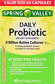Spring Valley Daily Probiotic Vegetable Capsules, 4B CFU, 60 Ct