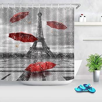 LB Paris Shower Curtain Vintage Raining France Eiffel Tower with Red Umbrella Shower Curtain Waterproof Fabric Bathroom Decor with Hooks,72 x 72 Inch