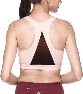 LAPASA Women's Sports Bra Medium Impact Double Layer Wire Free Cups Pullover Mesh Racerback for Yoga, Walking, Running L28