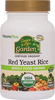 NaturesPlus Source of Life Garden Certified Organic Red Yeast Rice - 600 mg, 60 Vegan Capsules - Nutritional Support For O...