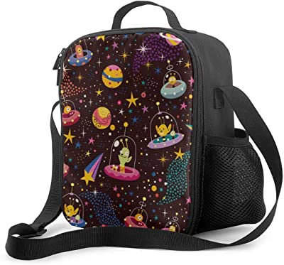 Alien Universe Spaceship Lunch Bag for Kids,Waterproof Insulated Oxford Cloth Lunch Box Food Bag Bento Lunch Boxes with Zipper for School Work Outdoor,Resuable Leakproof Lunchbags for Men Work