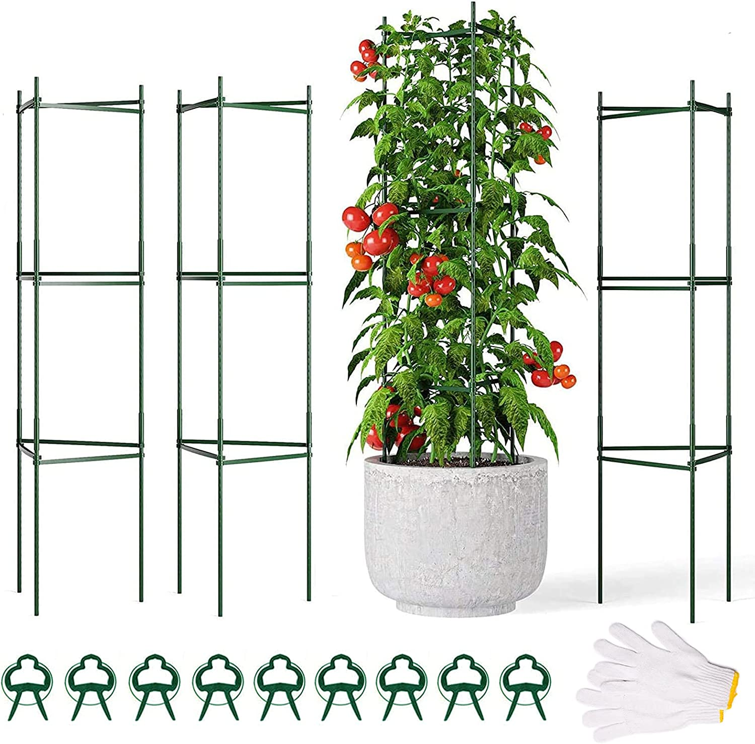 Buteafly latest Tomato Cage 3 Pack Plant with Support Fresno Mall Clips Cages 9Pcs
