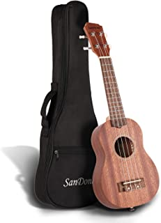 SANDONA Soprano Ukulele Set 21'' Sapele UK-1 | For Musicians Of All Levels | Complete Ukulele Set Includes Strap, Extra Strings, Digital Tuner & Gig Case | Burlywood Color
