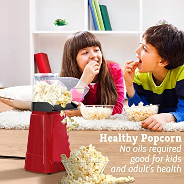 SLENPET 1200W Hot Air Popcorn Poppers Machine, Home Electric Popcorn Maker with Measuring Cup, 3 Min Fast Popping, ETL Certif