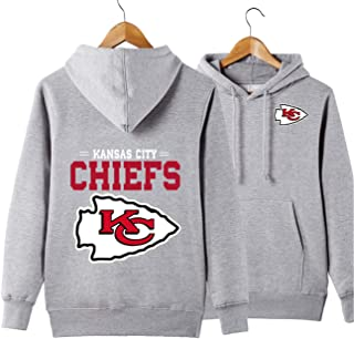 JJCat Men's Hooded Long Sleeve Kansas City Cheifs Sports Solid Color Pullover Hoodies