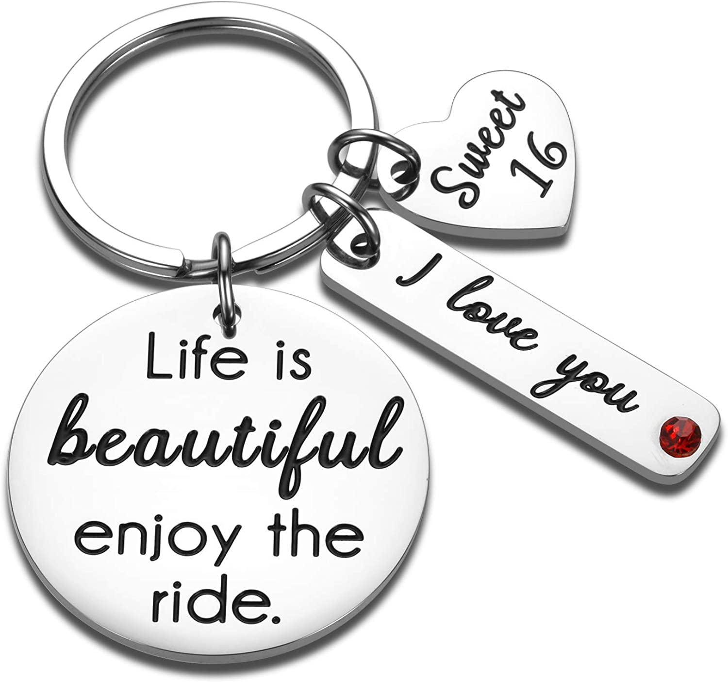 Sweet 16 keychain Gifts for Girls Daughter Son from Dad Mum Life is Beautiful Enjoy the Ride 16th Birthday Gift for Teens Boys Jesus Baptism Keyring for Niece Nephew Grandson Granddaughter Present : Clothing, Shoes & Jewelry