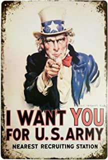 ERLOOD I Want You for U.S. Retro Vintage Decor Metal Tin Sign 12 X8 Inches
