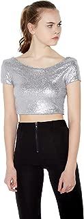 IRISIE Women Glistening Sequin Short Sleeve Bodycon Party Crop T-Shirt