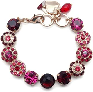 Firefly Swarovski Crystal Goldtone Bracelet Red Pix Mix Flower Mosaic 2140