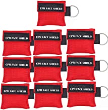Pack of 10pcs CPR Face Shield Mask Keychain Keying Emergency Kit LSIKA-Z CPR Face Shields Pocket Mask for First Aid or CPR Training (Red-10)