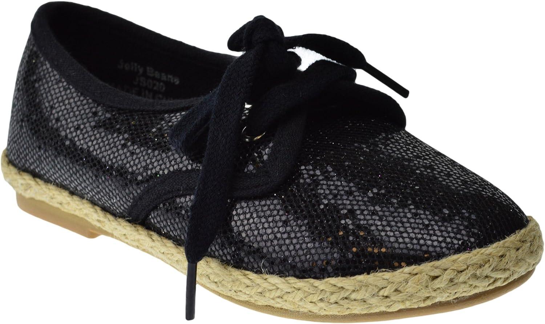 JELLY BEANS Hema Little Girls Lace Up Glitter Sequin Slip on Espadrille Black