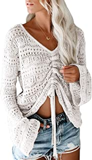 Womens Boho Off Shoulder Sheer Crop Tops Bell Sleeve...