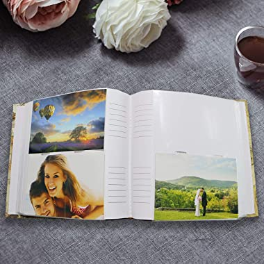 """Holoary Photo Album 4""""x6"""" 200 Photos 2 Pictures Per Page, Memo Writing Area for Each Pocket, Leather Spine and Printe"""