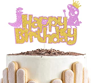 Double Sided Glitter - Happy Birthday Cake Topper - Cute Dinosaur and Lovely Pig with Crown and Magic Stick for Kids Birth...