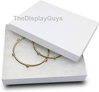 The Display Guys Pack of 25 Cotton Filled Cardboard Paper White Jewelry Box Gift Case (6 1/8x5 1/8x1 1/8 inches #65)