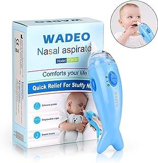 WADEO Aspirador Nasal Bebes Electrico Seguro Limpiar Nariz Bebe Limpiador de Nariz Mocos Eléctrico Música Ajustable 2 Niveles de Succión para Recién Nacidos y Niños
