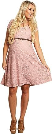 1933f4a800 PinkBlush Maternity Pink Lace Belted Maternity Dress