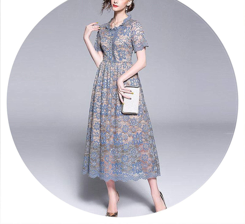 AllAboutUs Women Lace Long Dress England Style Elegant Slim Ladies Party Dresses M475