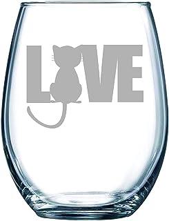 C M Cat LOVE stemless wine glass, 15 oz.