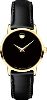 Women's Museum Yellow Gold Watch with a Concave Dot, Silver/Gold/Black Strap (Model: 607275)