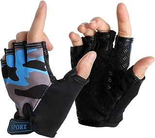 Cycling Gloves for Kids Boy Girl Biking Gloves Half Finger Fingerless Training Gym Riding Gloves Shockproof Foam Padded Child Bike Bicycle Gloves Mitten for MTB Skate Fitness Gloves