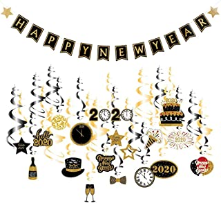 Onene 31 Pcs 2020 Happy New Year Banner and Hanging Swirls 2020 New Years Eve Photo Props Swirls Decorations, NY Theme Party Supplies Pack, Eve-Nye Party Favors for Adult, Foil Home Decorating Kit