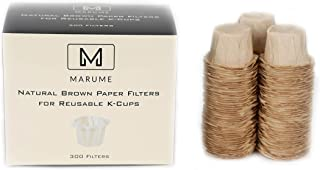 300 Disposable Natural Brown Coffee Filter Paper for Reusable Single Serve Keurig Brewer - Simple Cups, EZ-Cups, EkoBrew - Refills for Reusable K-Cups - Marume Mie Cup MF-NB300