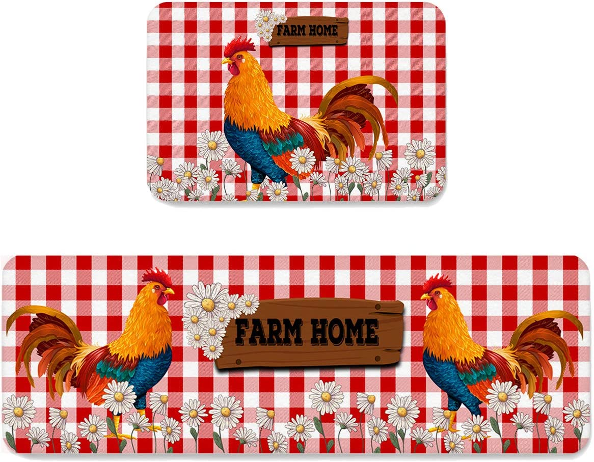 Farmhouse Rooster Vintage Opening large Max 85% OFF release sale Daisy Anti Kitchen Fatigue Rug