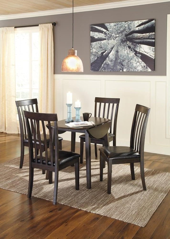 Ashley Hammis Round Drop Leaf Dining Table in Dark Brown