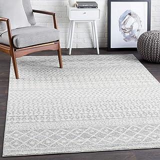 "Harput 7' 10"" x 10' 3"" Moroccan Bohemian Pattern - Farmhouse Area Rug - Rectangle - Polypropylene - Light Gray, Medium Gra..."