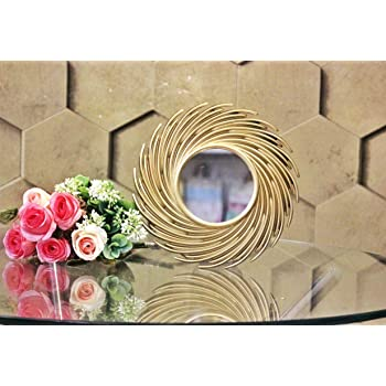 SATYAM KRAFT Fibre Wall Mirror (23.5 × 23.5 cm, Gold)