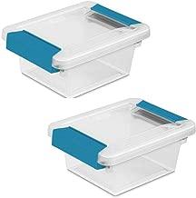 STERILITE Mini Clip Box, Clear with Blue Aquarium Latches, 2-Pack