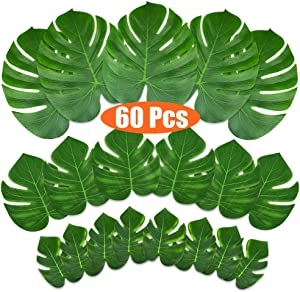 KUUQA 60 Pcs Tropical Leaves Party Decoration Artificial Tropical Palm Monstera Plant Leaves Imitation Leaf for Hawaiian Luau Aloha Party Jungle Theme BBQ Birthday Party Supplies 3 Sizes