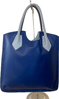BISBAG, borsa semi rigida in vera pelle pregiata e riciclata, shopper bicolor, fatta a mano a Firenze da abili artigiani, ...