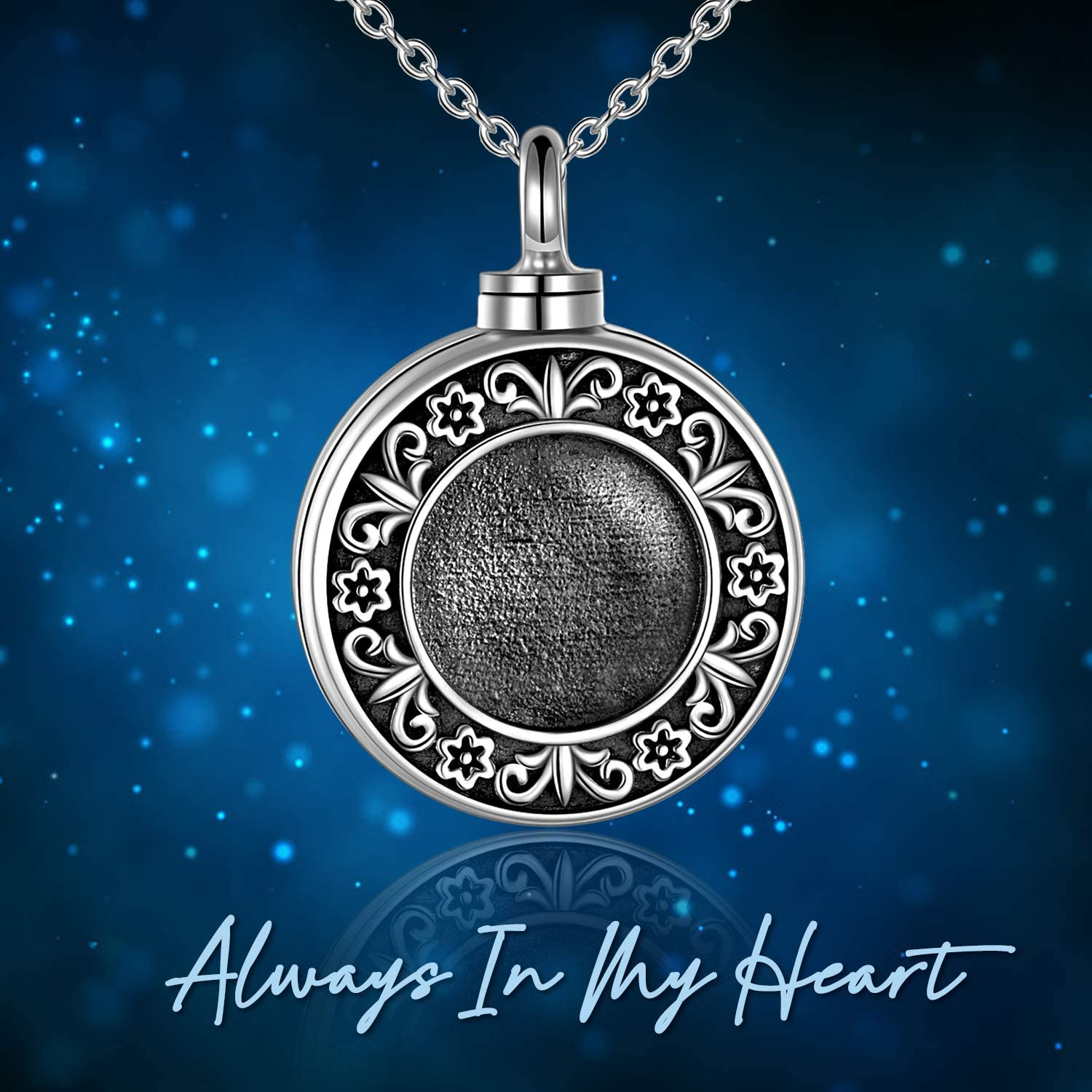 ONEFINITY Sterling Silver Always in My Heart Urn Necklace for Ashes Heart Locket That Holds Pictures for Women Ashes Necklace Keepsake Memorial Ash Jewelry