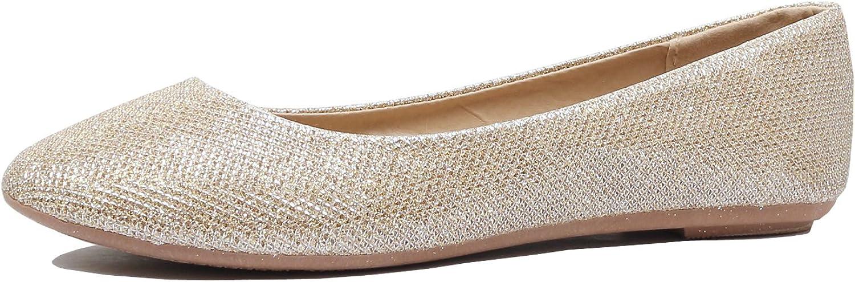 Guilty Heart Womens Classic Slip On Rhinestone Stud Glitter Ballerina Ballet Comfortable Flats