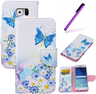 Galaxy S6 Case, LEECO Wallet PU Leather Protects Flip Skin Case with Magnetic Closure Impact Resistant Folio Cover for Samsung Galaxy S6 Daisy Blue Butterfly