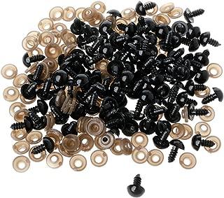 MIsha 100 Piezas Ojos de seguridad de plástico para osos de peluche, con arandelas, con arandelas, Ojos de seguridad para amigurumi muñecas títere(5mm)