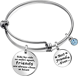 JQFEN Best Friend Bracelets Side by Side or Miles Apart Friends Close at Heart Friendship Gift Bracelet Bangles